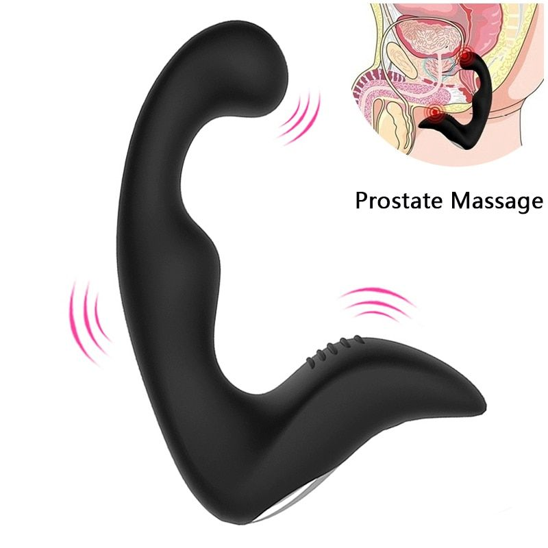 gelugee Male Prostate <font><b>Massager</b></font> Anal Vibrator Silicone 7 Speeds Butt Plug Sex Toys for Men Anal Toys Male Masturbator for Adult