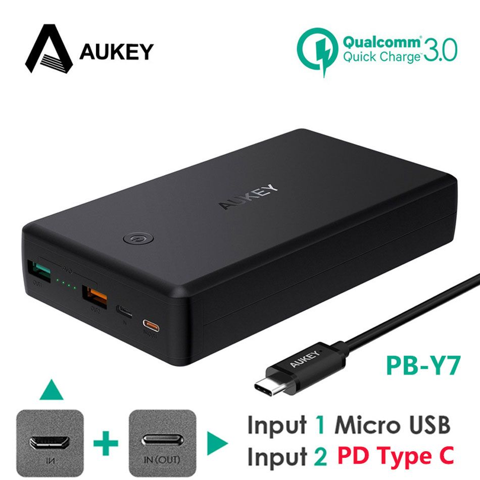 AUKEY Quick Charge 3.0 USB Power Bank 30000mAh Portable 30W Power Delivery Fast External Charger Powerbank For Xiaomi iPhone 8 X