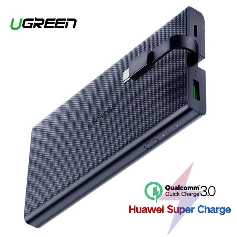 Ugreen 10000mAh Power Bank 18W Quick Charge 3.0 Powerbank External Battery Charger Pack For Xiaomi Mobile Phone Type C Poverbank