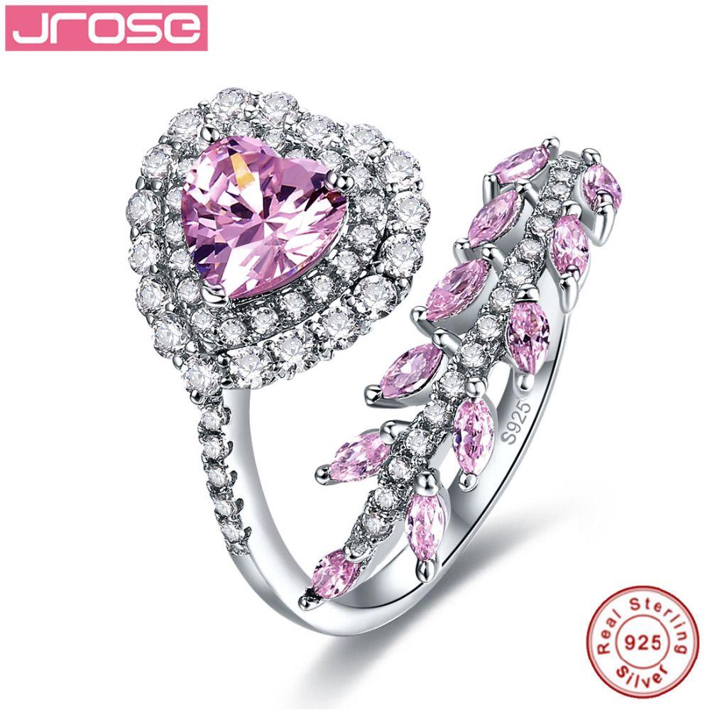 Jrose 2.14ct Joyería Fina Mujeres Del Estilo Del Corazón de Rosa CZ 100% Anillo de Plata de Ley 925 Anillos de Compromiso de los encantos de Las Señoras regalos de mañana