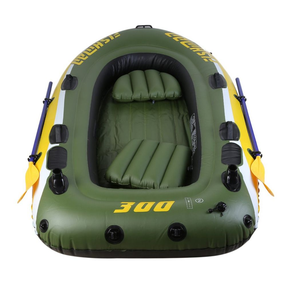 2-3 Person Rubber Boat Kit PVC Inflatable Fishing Drifting Rescue Raft Boat Life Jacket Two Way Electric Pump Air Pump Paddles