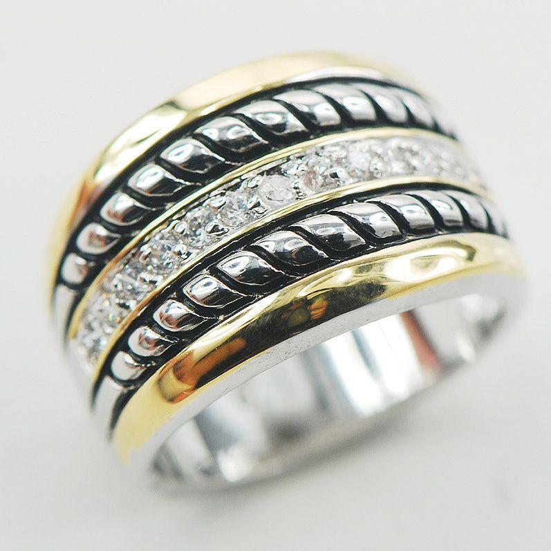 Cristal blanc ZirconWomen 925 Bague en Argent Sterling F869 Taille 6 7 8 9 10