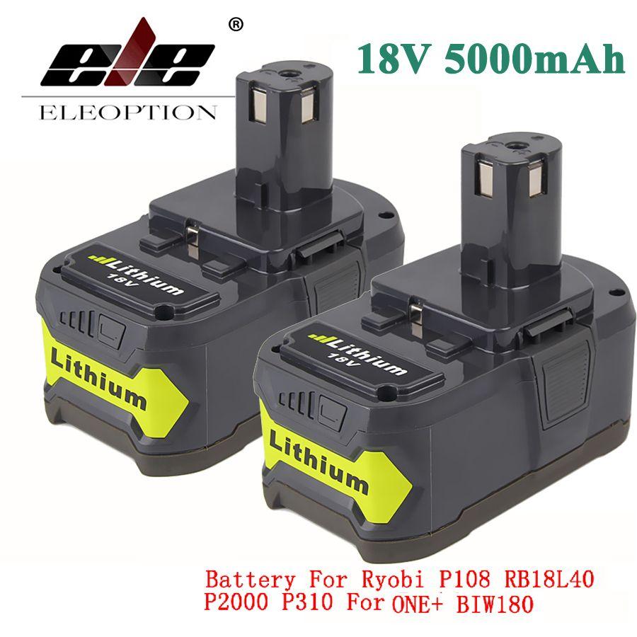 ELEOPTION 2x 18V 5000mAh Li-Ion Rechargeable Battery For Ryobi 18V Lithium Battery P108 RB18L40 P107 P104 For ONE+ BIW180