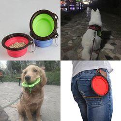 1 PC Silicone Dobrável Bacia Do Cão Dobrável Pet Travel Alimentação Tigela de Água Dish Alimentos Silicone Portátil Bacias Do Cão Acessórios Para Animais de Estimação