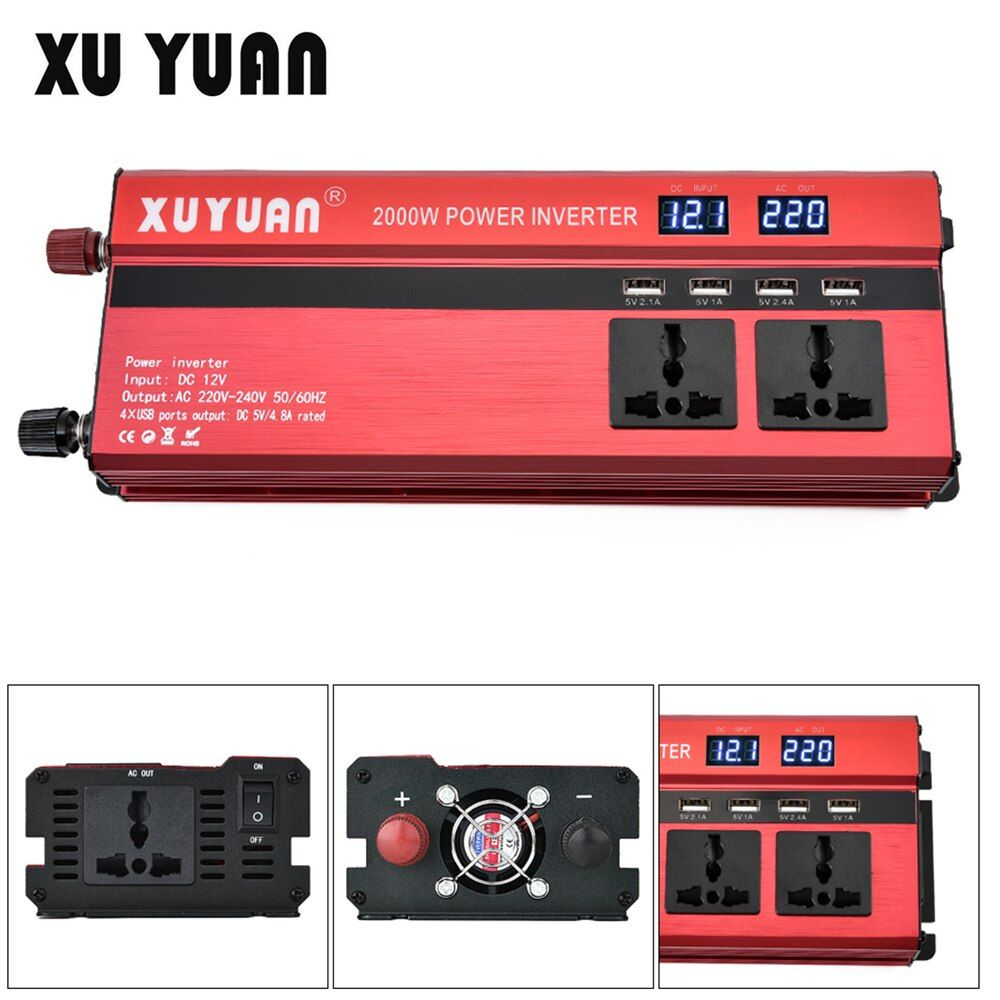 2000W 12V 24V to AC 220V 110V Aluminum Alloy Auto Car Power Inverter Adapter with 4 USB Port and Dual LCD Display Converter