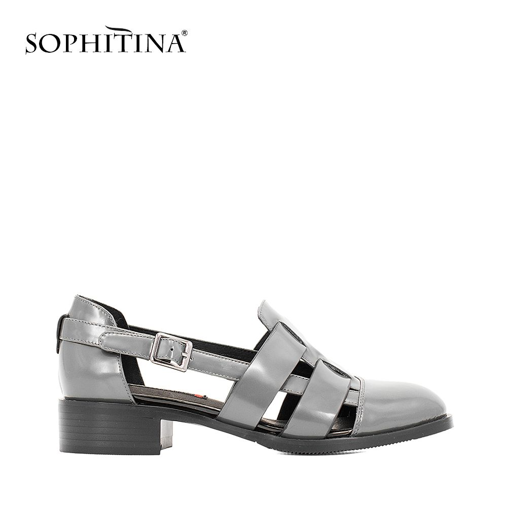 SOPHITINA Casual Sandals High Quality Patent Leather Soft Thick Heel Buckle Strap Sandals Blue Black Gray Hollow Shoes Women S12