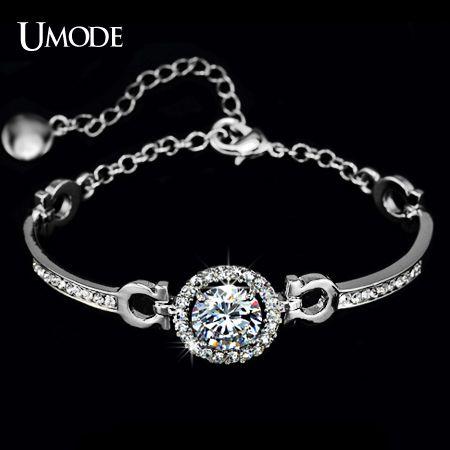 UMODE Sparkling White Gold Color Hearts & Arrows Cubic Zirconia Bracelets For Women Fashion Jewelry Wholesale AUB0012