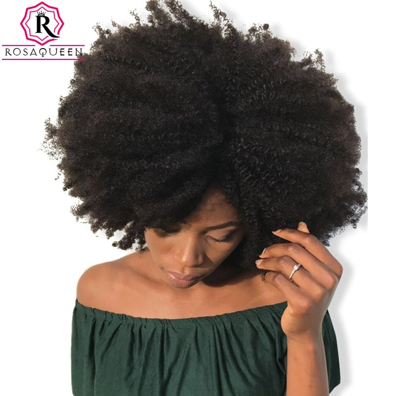 4B 4C Afro Kinky Curly Clip In Human Hair Extensions Brazilian Remy Hair 100% Human Natural Hair Clip Ins Bundle Rosa Queen