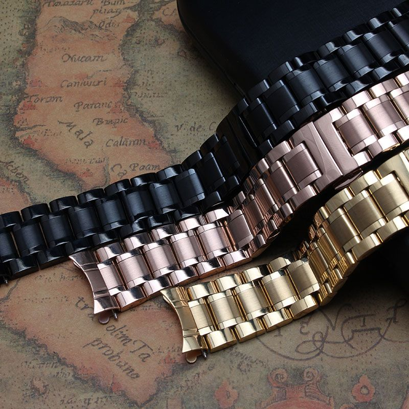2016 New Fashion Replacement Stainless Steel Solid-Links Watch Band Strap Bracelet Curved End 18 19 20 21 22 mm Watchband strap