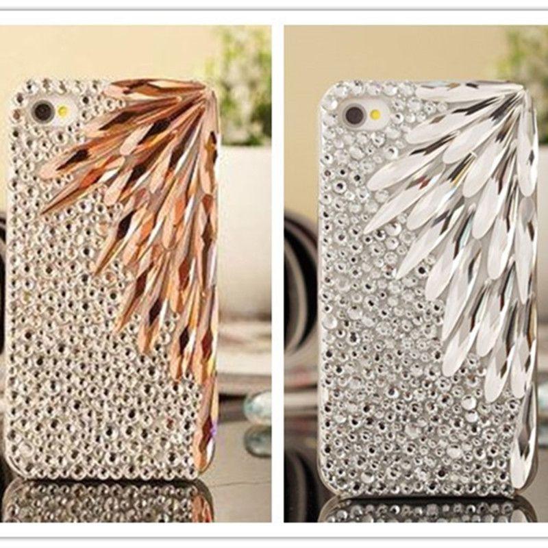 Dower Me bricolage fait à la main Super luxe Bling cristal plume strass diamant étui pour iphone XS Max XR X 8 7 6 6 S Plus 5 5 S SE