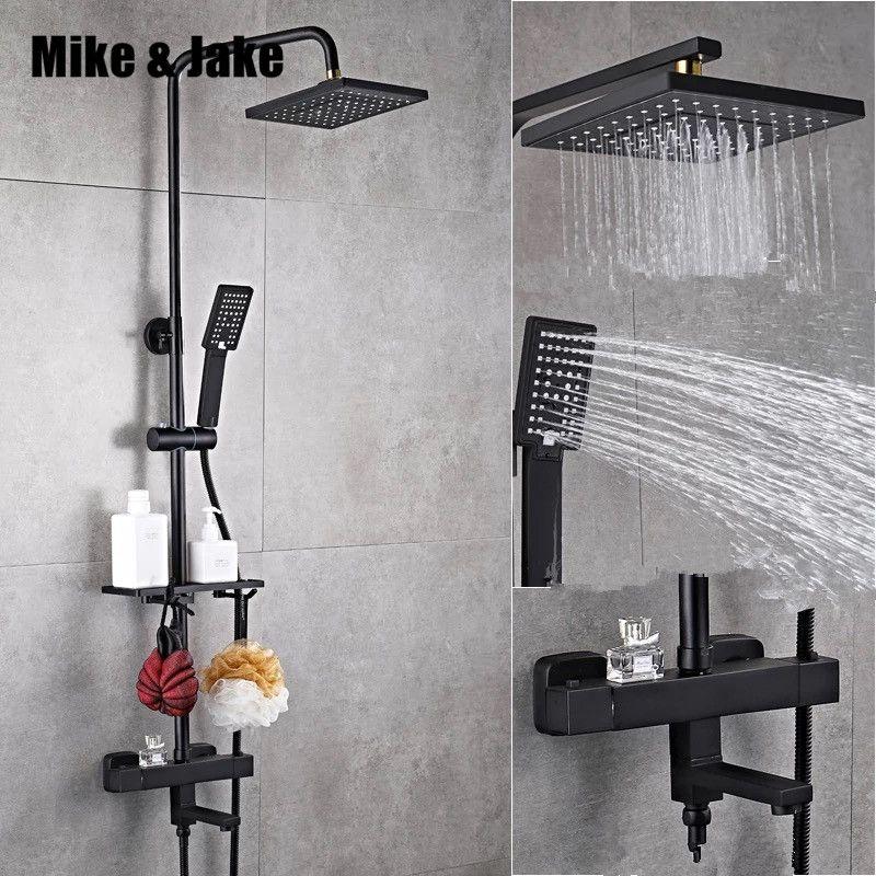 Luxus schwarz thermostat dusche set platz dusche wasserhahn heiße und kalte Dusche wasserhahn Badewanne thermostat dusche mixer HC989
