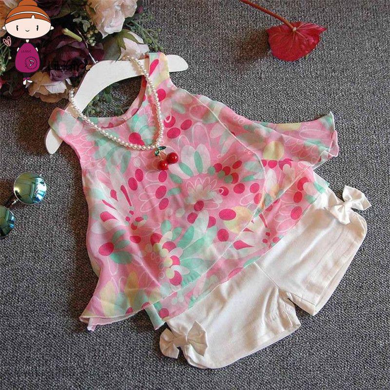 Liligirl одежда для маленьких девочек комплекты одежды для комплект для девочек шифоновая футболка + Шорты летняя уличная Стиль Бесплатная дос...
