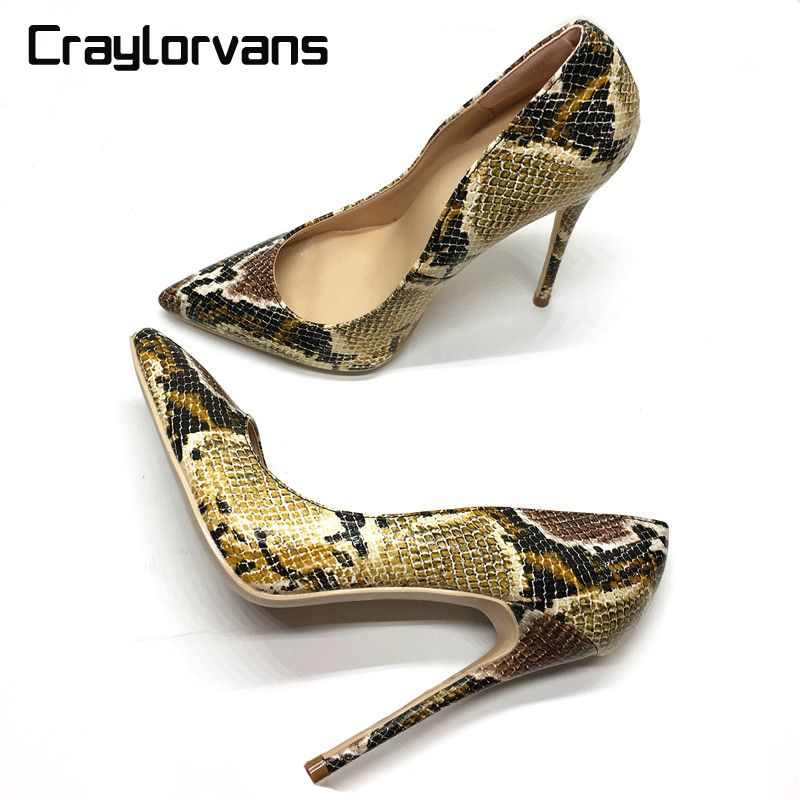 Craylorvans Top Quality Snake Printed Women Shoes Sexy High Heels 2018 Pointed Toe Party Women Pumps weeding shoes