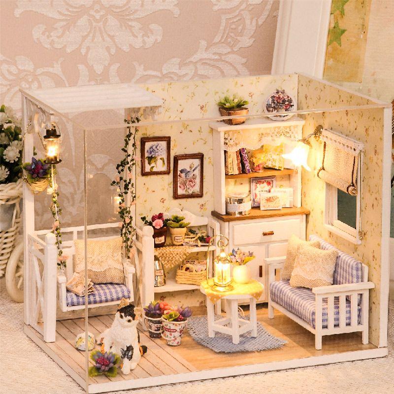 Maison de poupée Meubles bricolage Miniature housse de protection 3D En Bois Miniaturas Dollhouse Jouets pour Enfants Cadeaux D'anniversaire Chaton Journal H013