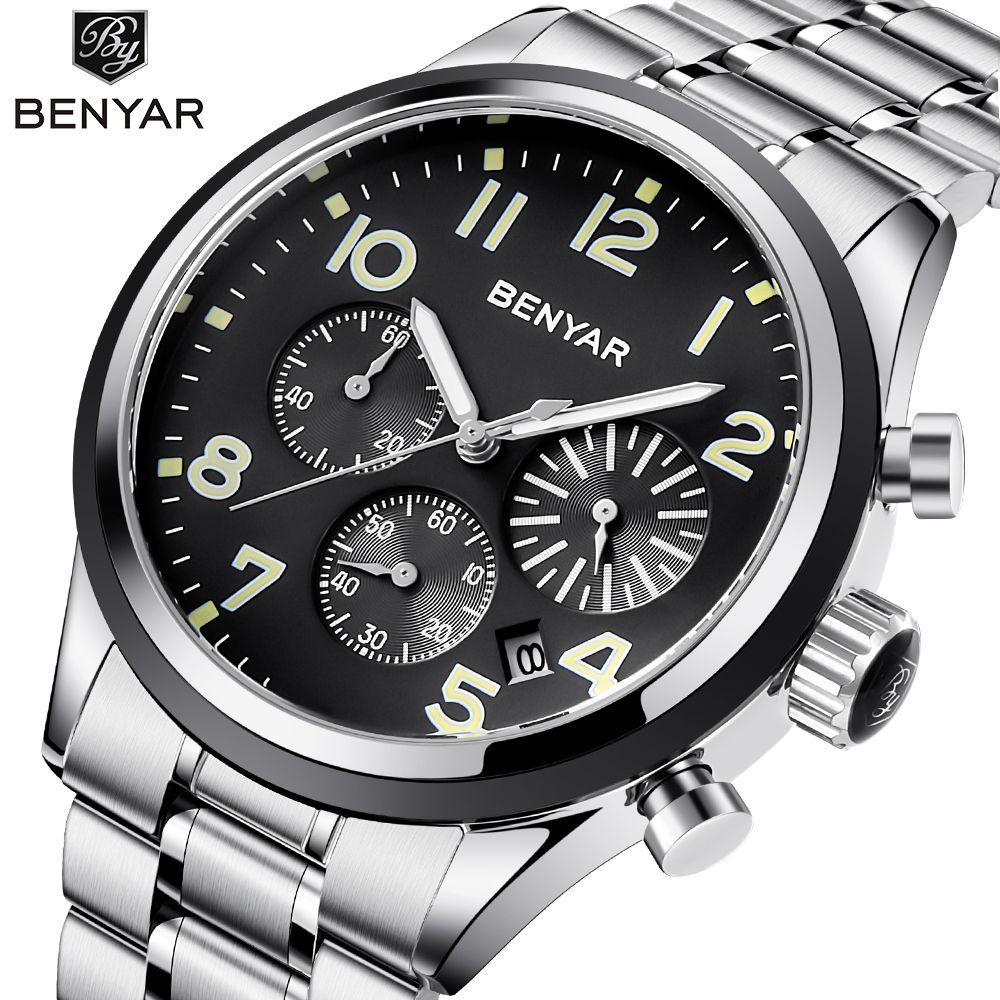 BENYAR Mens Watches Top Brand Luxury Quartz Watch Stainless Steel Chronograph Wristwatch Men Clock montre homme Relogio feminino