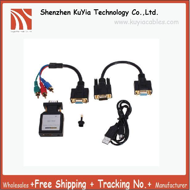 Livraison gratuite kuyilivraison de haute qualité MINI HDMI vers VGA/HDMI vers YPBPR adaptateur connecteur pour TV ou projecteur avec composant vidéo ou PC
