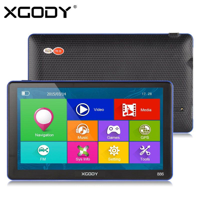 XGODY 7 inch 886 Car Truck GPS Navigation 256M+8GB Capacitive Screen FM Navigator+Reversing Camera Russia US AU 2017 EU Free Map