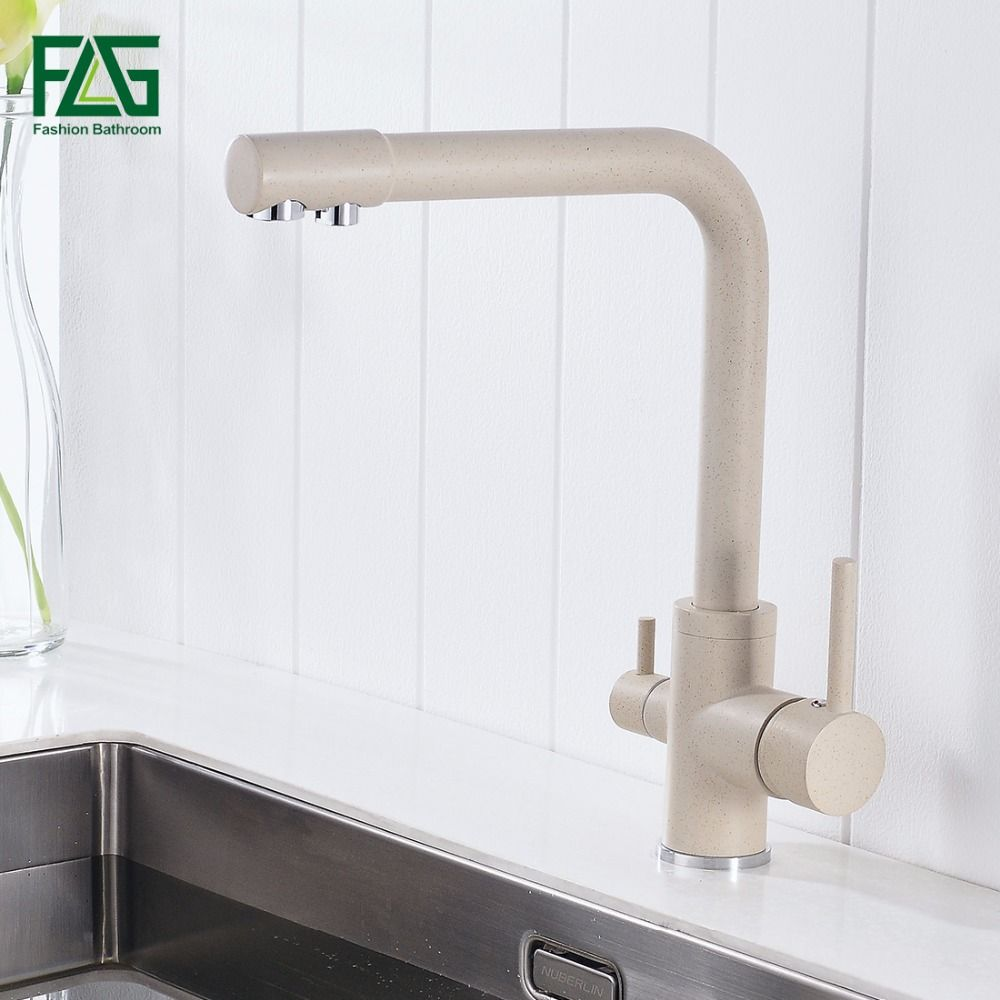 FLG 100% Brass Marble Painting Swivel Drinking Water Faucet 3 Way Water <font><b>Filter</b></font> Purifier Kitchen Faucets For Sinks Taps 242-33K