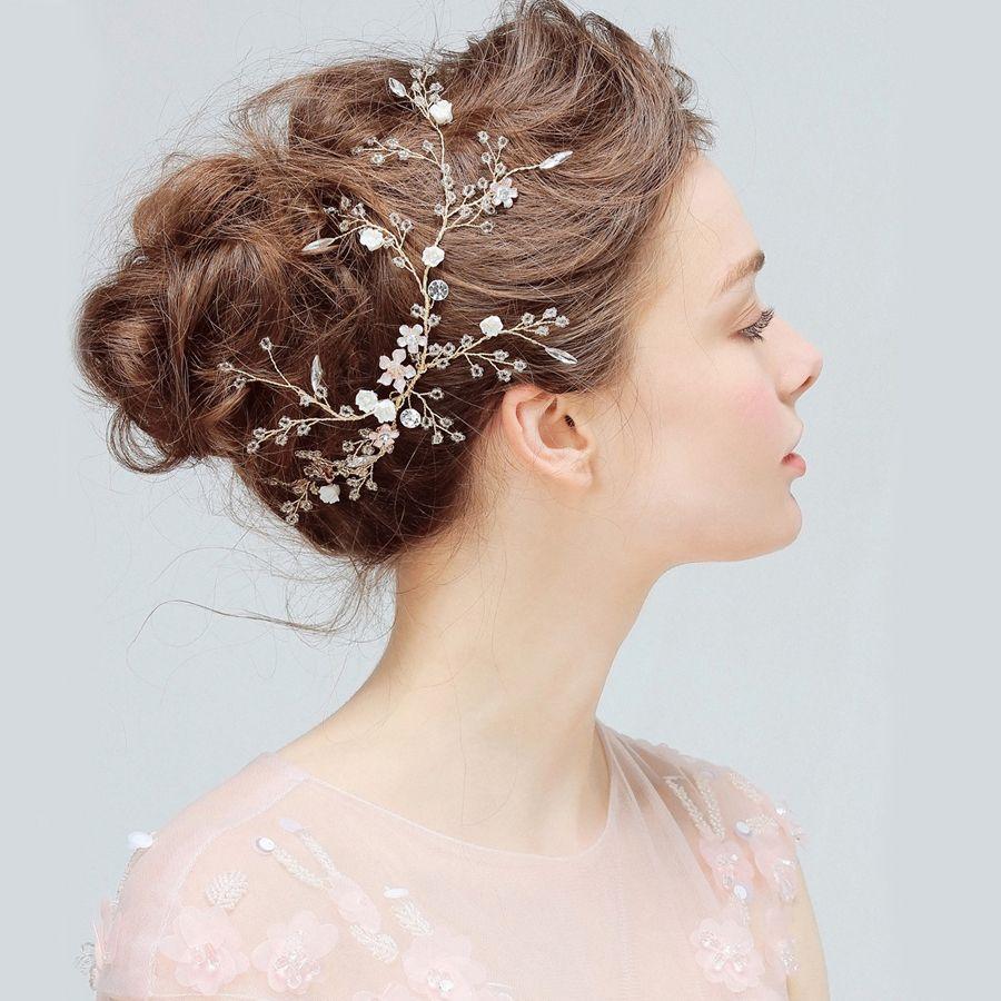 1pc/lot Tiara Bridal Wedding Hair Piece Ornament Jewelry Accessories Flower headband for Women Head Rhinestone Crystal Gold Vine