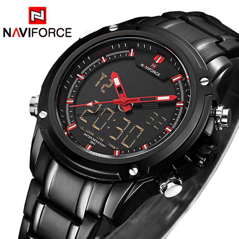 NAVIFORCE Sport Clock Men's Quartz Wrist Watch Military Watch For Men Full Steel Men Watch Relogio masculino Reloj Hombre 2018
