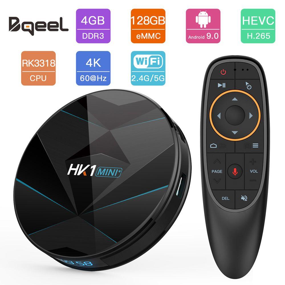 HK1MINI + Android 9.0 Smart TV BOX RK3328 Quad Core 4G + 128G 2.4G & 5 GHz double WIFI BT4.0 Google Player 4 K 3D TV récepteur décodeur