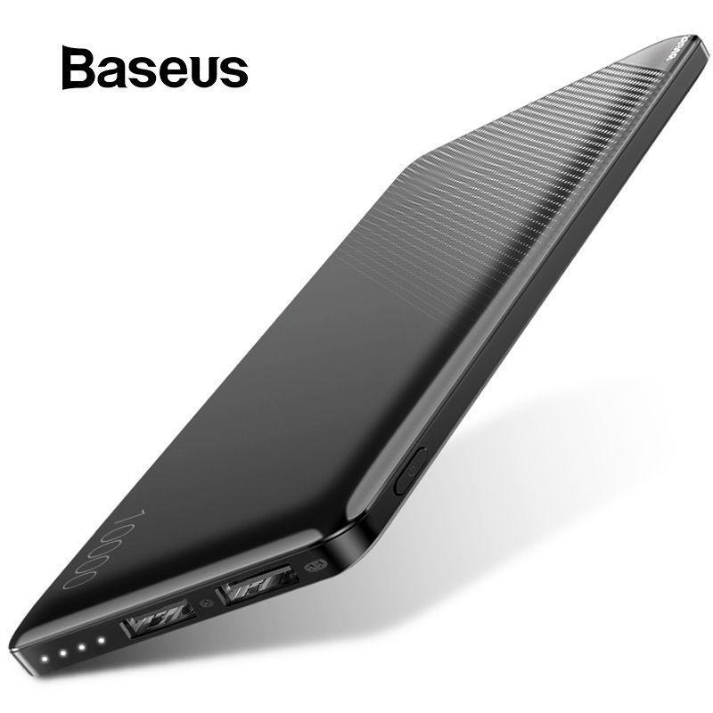 Baseus 10000 mAh batterie externe pour iPhone téléphone Portable batterie externe Mini Portable batterie externe double USB banque d'alimentation de chargeur