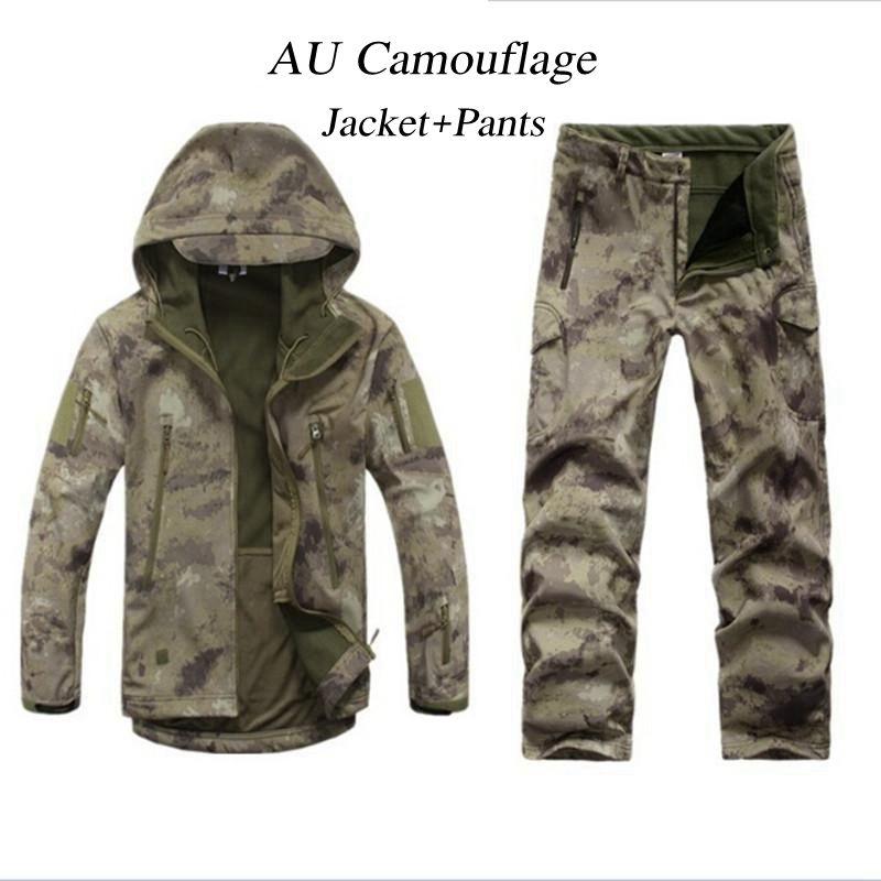 Freien Taktische Jagd Herren Softshell Camo Jacke Hose Kleidung Set Armee Sport TAD Wasserdicht Military Wandern Jacke Hose