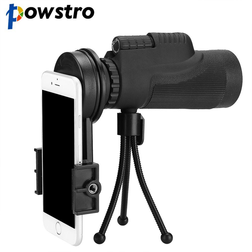 Powstro HD 12x50 Phone Telescope Lens Phone Monocular Camera Lens with Tripod Phone Clip Telescope For Telescope Lens Smartphone