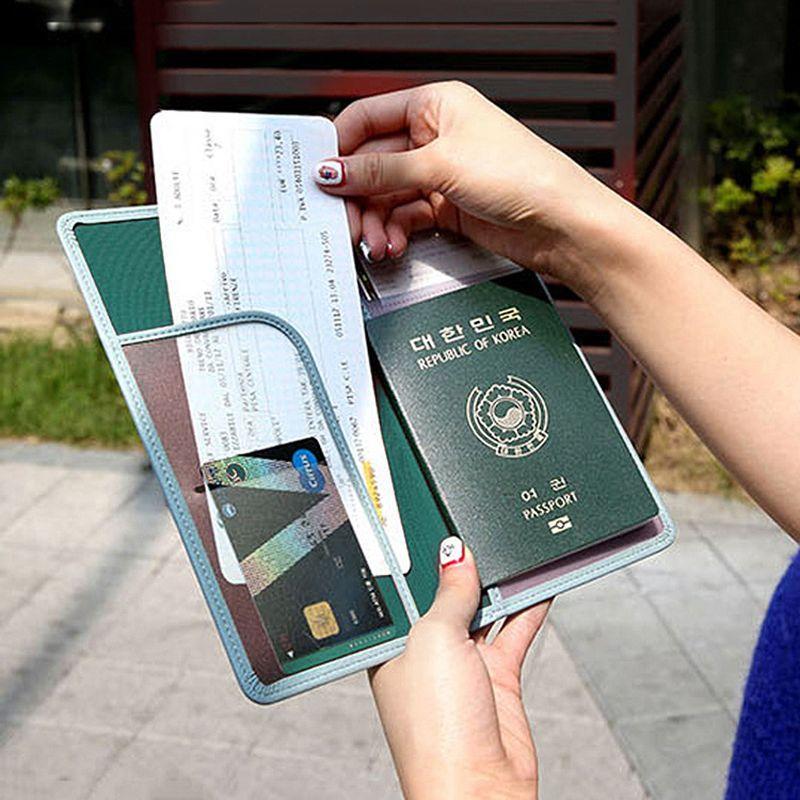 Cubierta de la Cubierta de cuero Del Pasaporte de la Licencia de Conducir Los Hombres de Viaje Pasaporte Titular de la Tarjeta de Crédito de la Carpeta De Moda Cubre Tarjetero Mujer