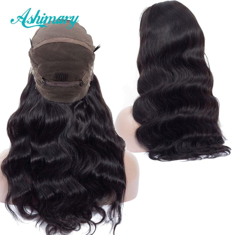 Perruques de cheveux humains en dentelle pré-cueillies Remy brésilien perruque de vague de corps pleine perruques de dentelle avec des cheveux de bébé ligne de cheveux naturelle Ashimary