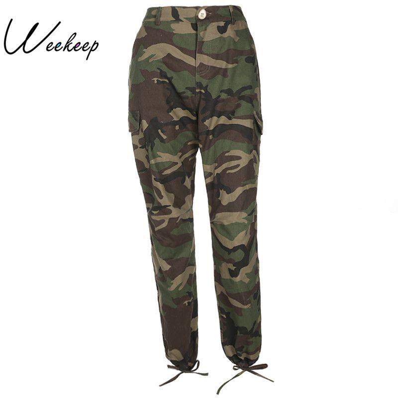 Weekeep Women 2017 Autumn Camouflage Pencil Pants Fashion High Waist Trousers Pantalon <font><b>Mujer</b></font> Casual Pocket Ankle-Length Pants