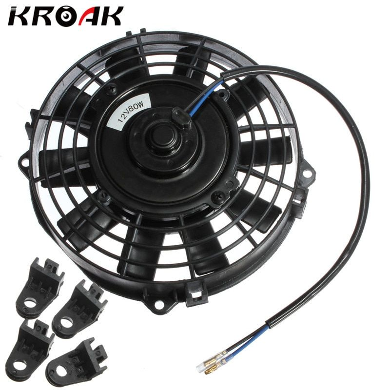 Universal 12V 80W 7 Inch Slim Reversible Electric Radiator Cooling AUTO FAN Push Pull With Mounting Kit