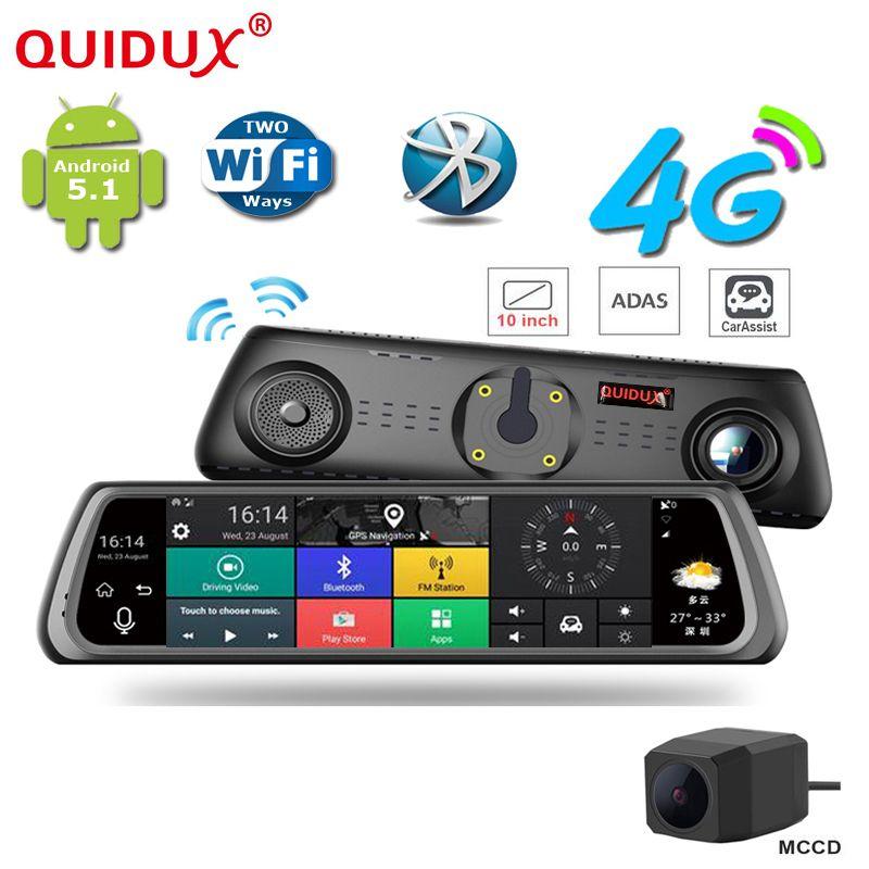 QUIDUX Android 5.1 Auto DVR 4G WCDMA 10 Zoll Touch Rück spiegel DVRS Doppelobjektiv GPS Navigation Dash Cam Video Recorder Dashcam