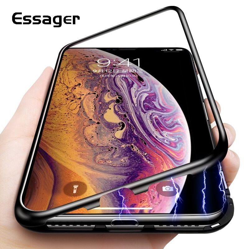 Essager Ultra Magnetic Adsorption Phone Case For iPhone XS Max XR X 10 8 7 6 6S S R Plus Coque Luxury Magnet Glass Cover Fundas