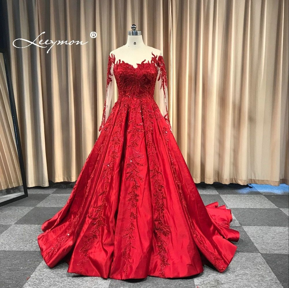 Leeymon 2018 Wedding Dress Appliques Beaded Vintage Satin Ball Gown Lace Up Wedding Gown Dress Floor-Length Real Pictures
