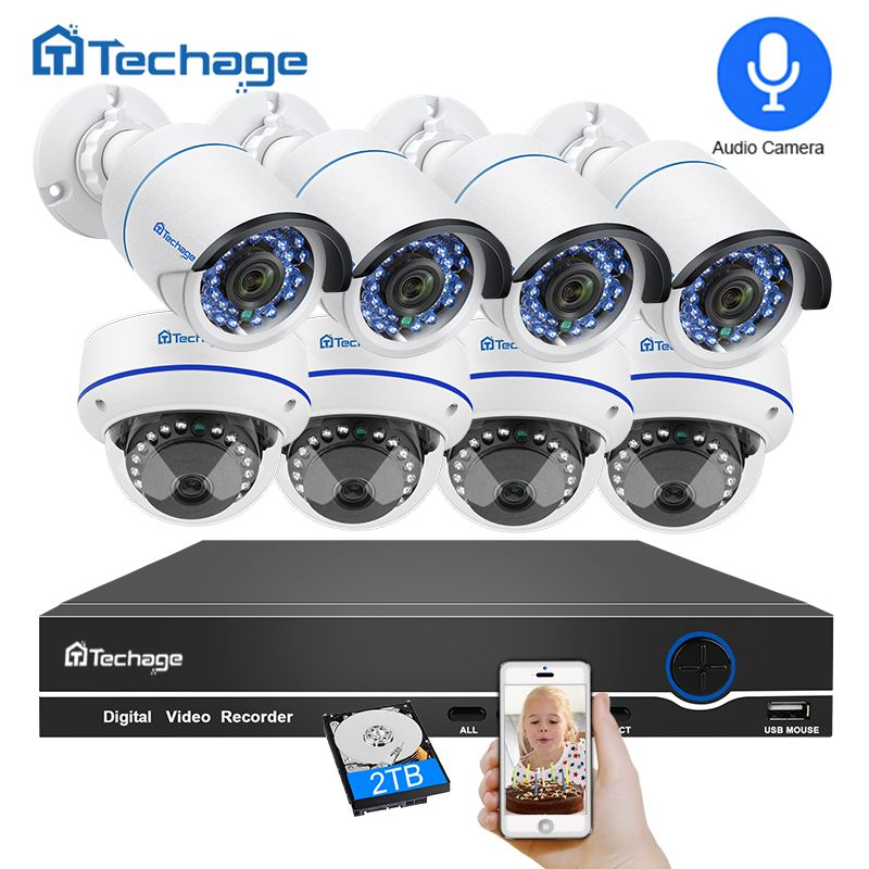 Techage 8CH 1080P POE NVR Audio CCTV System 2MP Indoor Outdoor Dome PoE IP Camera IR P2P Video Security <font><b>Surveillance</b></font> Kit 3TB HDD