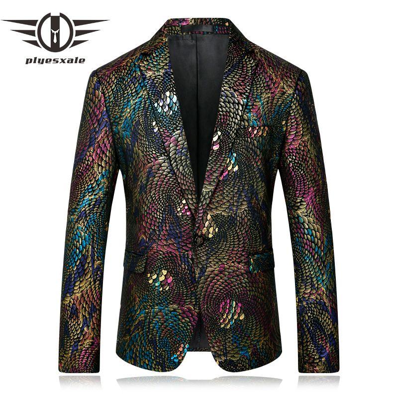 Plyesxale Männer Blazer 2018 Slim Fit Phantasie Blazer Für Männer bühne Kostüme Für Sänger Prom Blazer Herren Paisley Anzug Jacke Q254