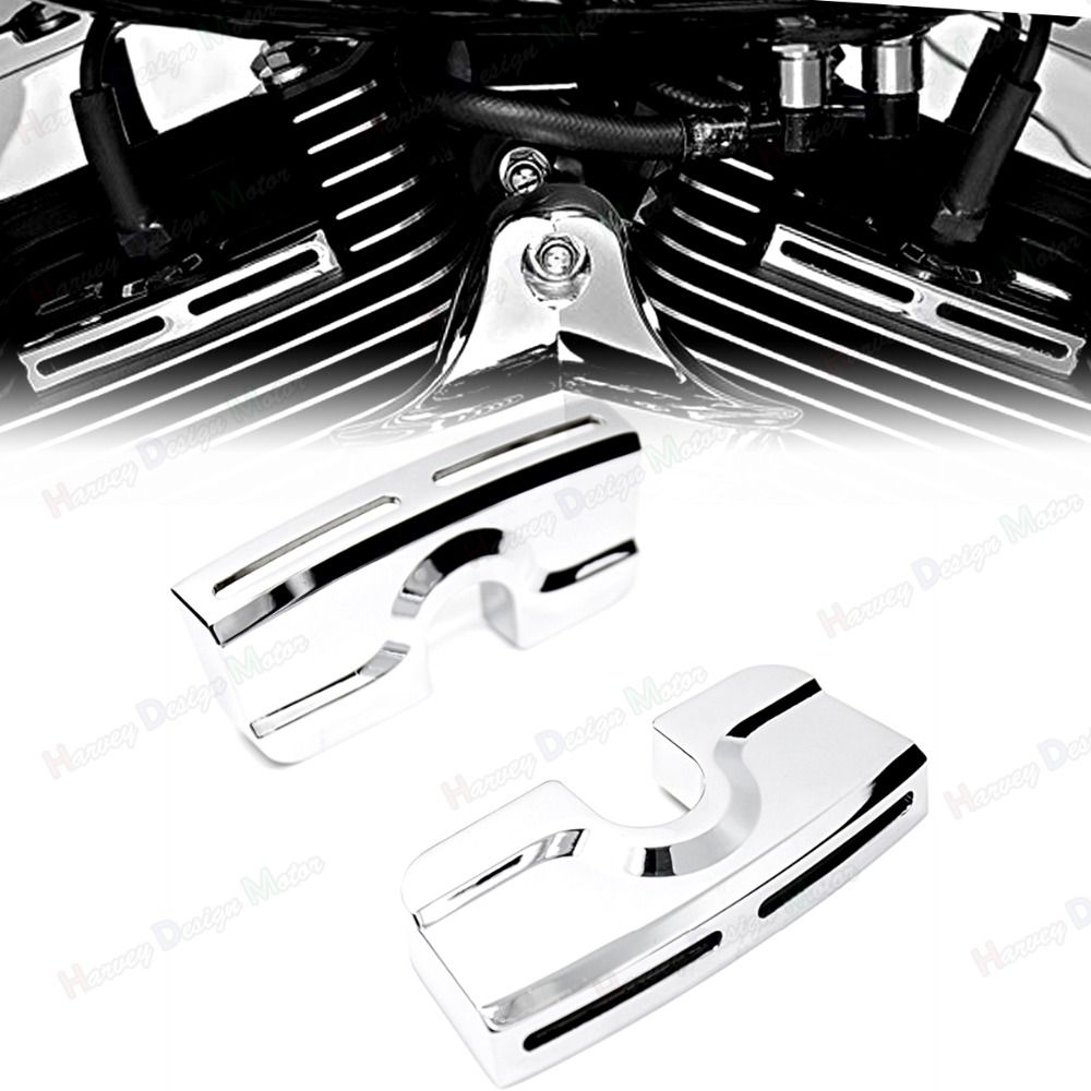 Chrome Spark Plug Head Bolt Covers For Harley Dyna Softail Touring Twin Cam 99-17 Model