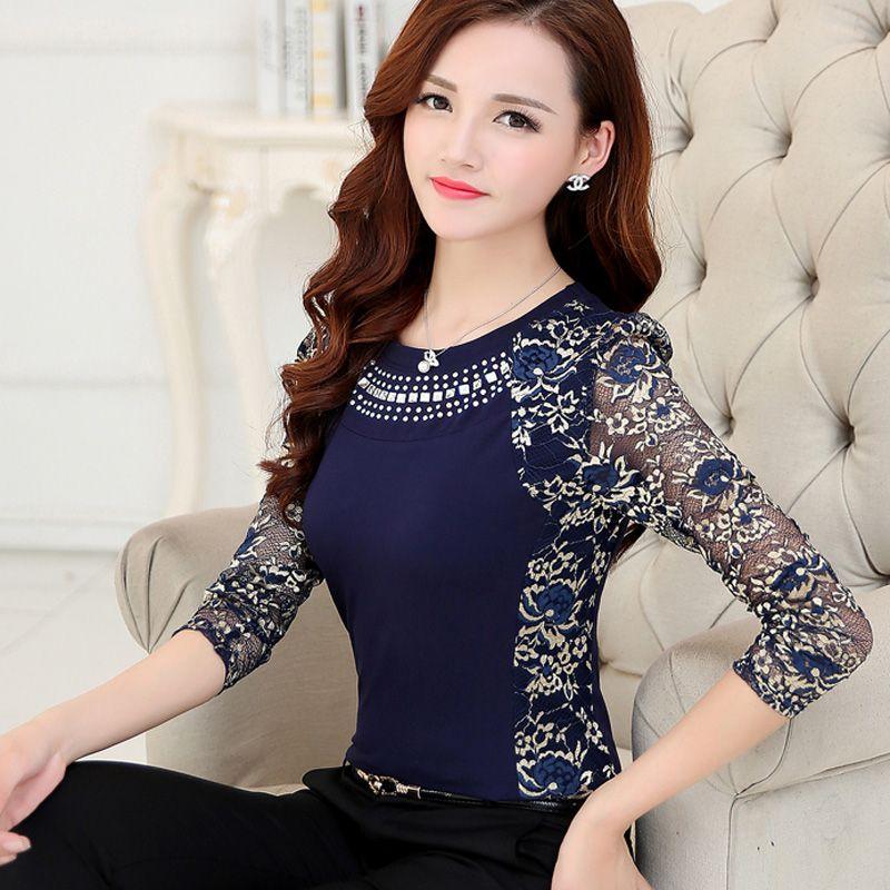 Nouvelle 2018 De Mode de Haute Qualité de Femmes plus la taille dentelle blouse shirts manches longues pour femmes slim Dentelle patchwork femmes Tops 160F 20