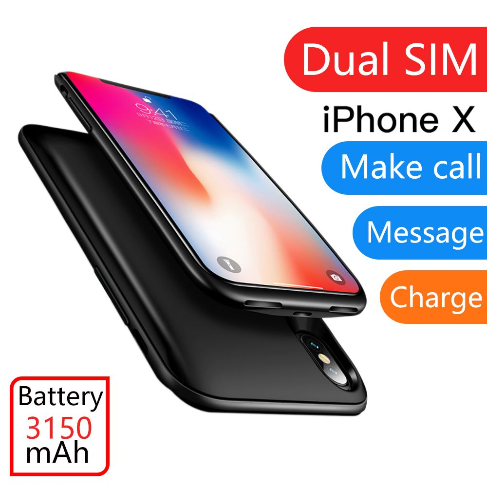 For iPhone X/XS/XR Ultrathin Rubber frame Dual SIM Dual Standby Bluetooth Adaper Long Standby 7days with 3150 mAh Power Bank