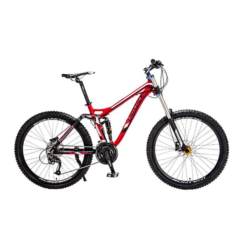 LAUXJACK Fahrrad Aluminium Legierung Weiche-Anhänger 24/27 Schnell Unten Mountainbike Dual Öl Disk Bike Stoßdämpfer