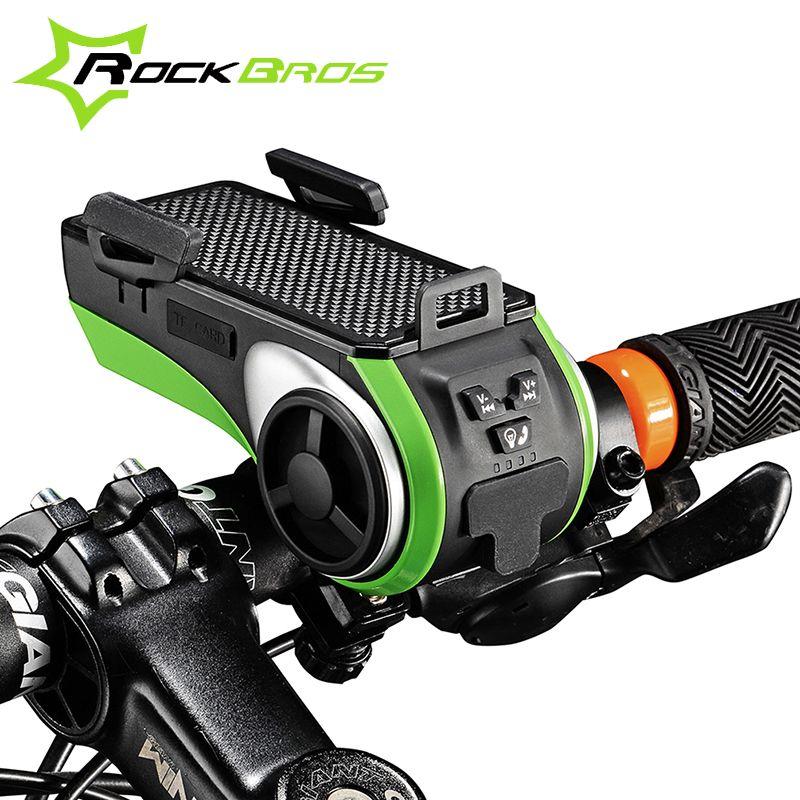 ROCKBROS Bike Zubehör USB Ladung Bike Licht Regendicht Bike Leds Ring Glocke Bluetooth Audio Lautsprecher Mobile Handy Halter