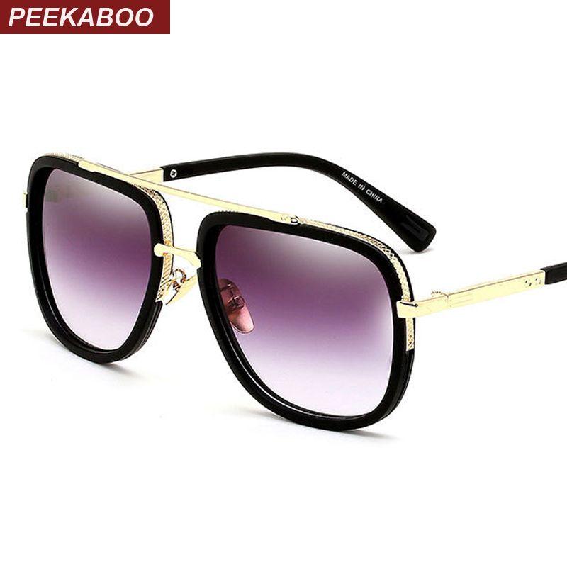 Peekaboo Mens casual sunglasses brand designer big square men driving sun glasses women gradient matte black lunettes de soleil