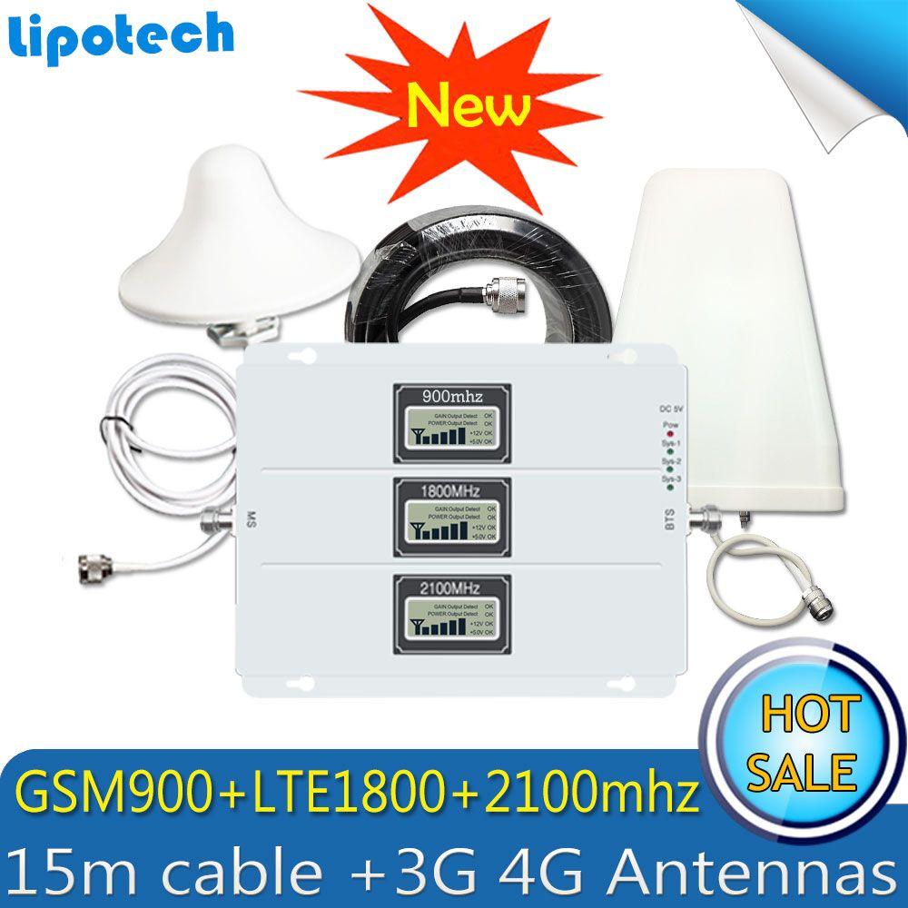 2G 3G 4G GSM Repeater 900 1800 2100 Tri-band GSM 900 DCS 1800 WCDMA 2100 Handy Signal Booster Celular Verstärker 4G antenne