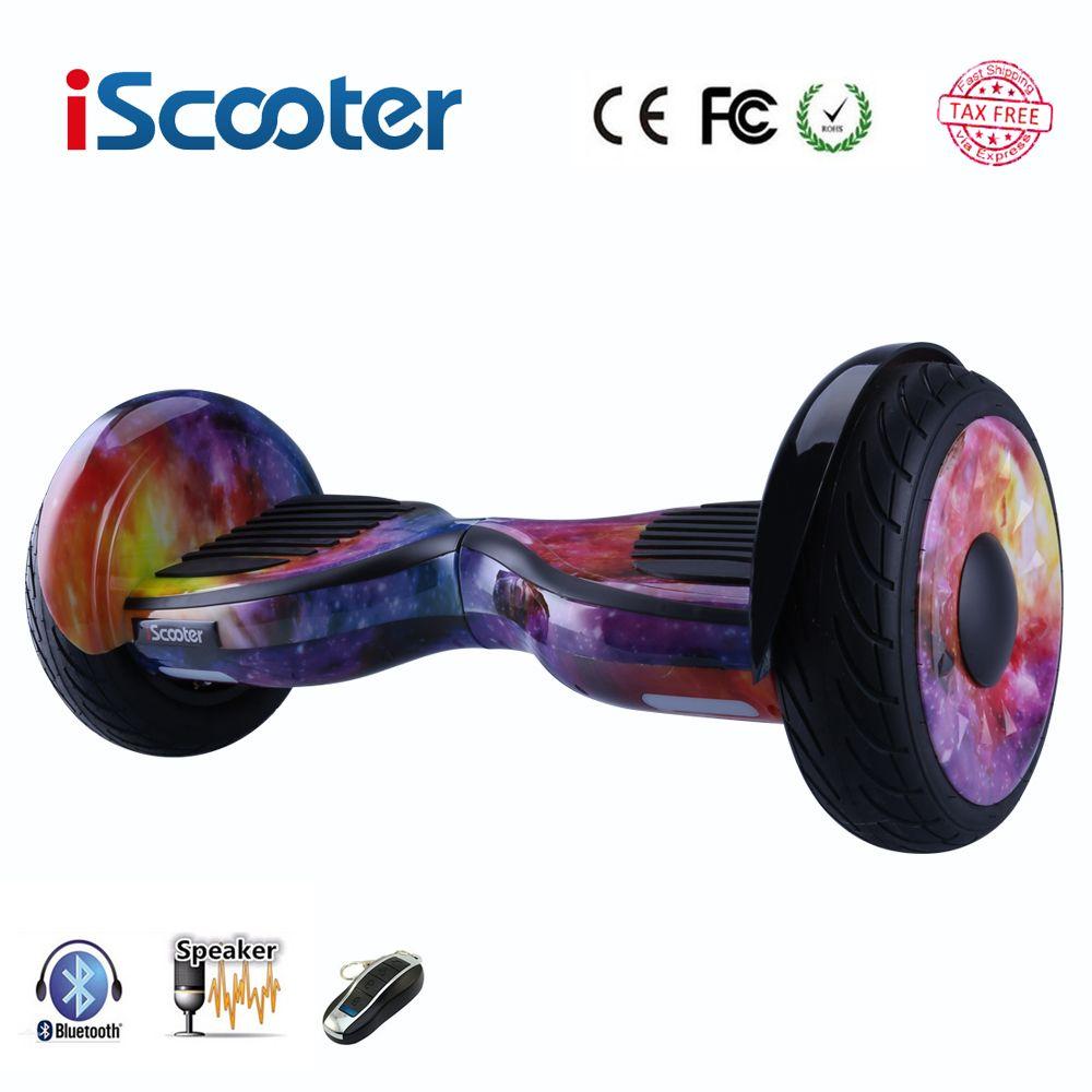 Freies verschiffen Hoverboard 10 zoll zwei rad smart selbst ausgleich roller elektrische skateboard mit Bluetooth lautsprecher giroskuter