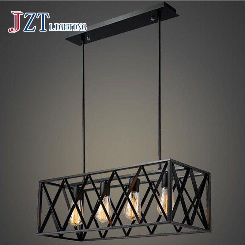 T American Rrtro Black Pendant Light With LED E27 Bulbs Creative LOFT Iron Lamp For Foyer Restaurant Rectangular