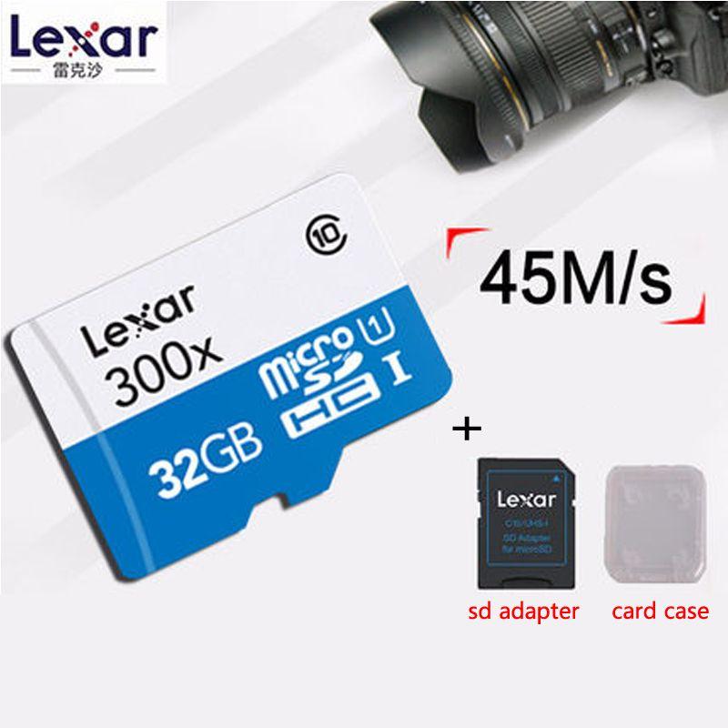 Original Lexar Véritable 45 mo/s 300x micro SD Classe 10 64 GB micro SDXC TF Carte Mémoire Adaptateur pour Pad gopro Hero Caméscope Téléphone