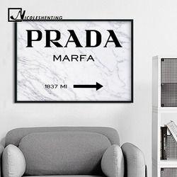 Marbre Motif Style De Mode Affiche Nordique Décoration PRADA Mur Toile D'art Moderne Peinture Décorative Photo Home Decor