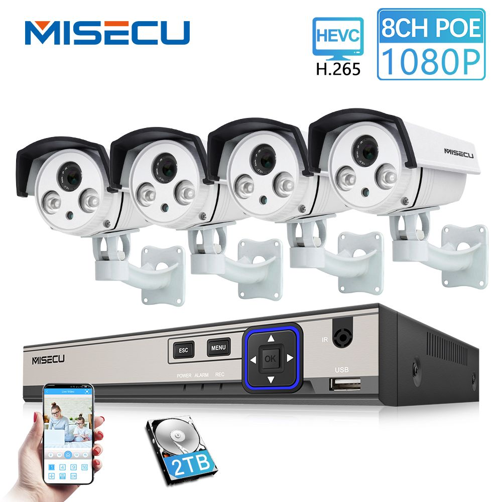 MISECU 8CH 48V HD POE NVR 1080P 2.0MP High Power Array IR Led POE IP Camera Outdoor Waterproof P2P Onvif Surveillance camera kit
