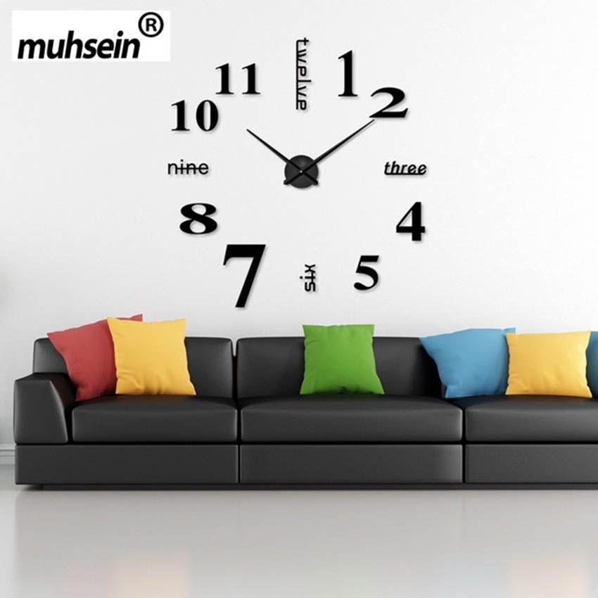2017 Super Big DIY Wall Clock Acrylic+ <font><b>Mirror</b></font> large wall clock Personalized Digital Watches Clocks Freeshipping 120x120 cm